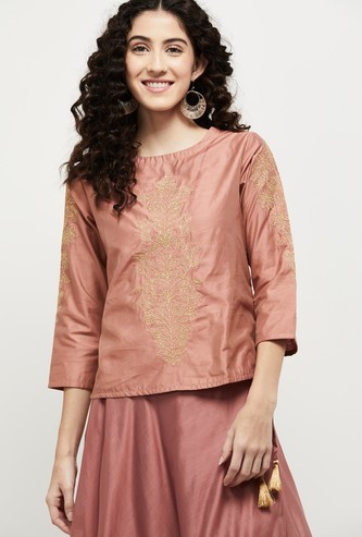 MAX Embroidered Round Neck Ethnic Top