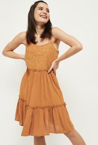 MAX Embroidered Tiered Dress