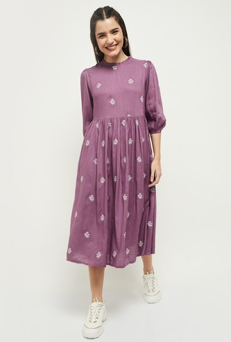 MAX Embroidered Puffed Sleeves A-Line Dress