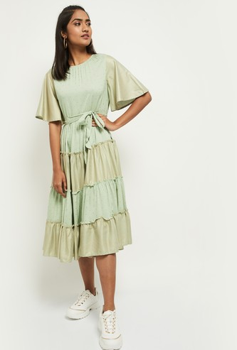 MAX Printed Tiered A-Line Dress