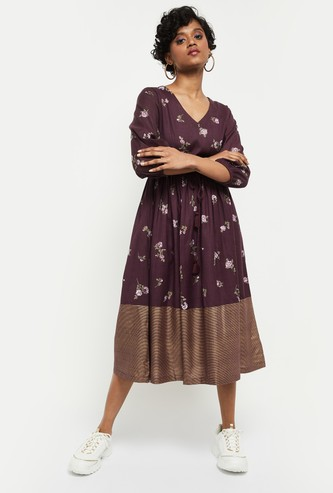 MAX Printed V-neck Midi Dress