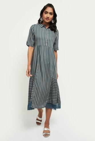 MAX Striped Collared Fusion Midi Dress