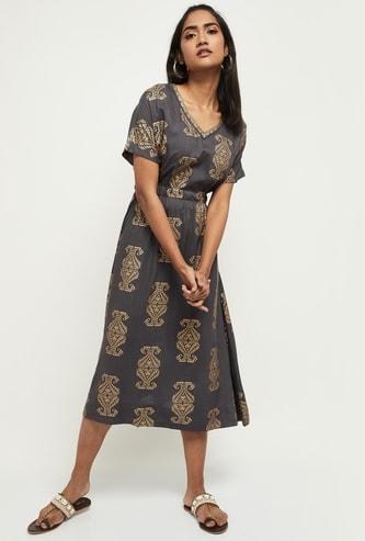 MAX Printed Short Sleeves Midi Dress