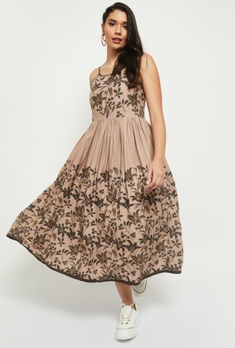 MAX Printed Fit And Flare Dress