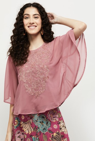 MAX Embroidered Round Neck Cape Sleeves Top