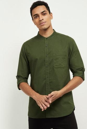 MAX Solid Mandarin Collar Shirt
