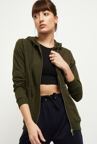 MAX Solid Hooded Sporty Jacket