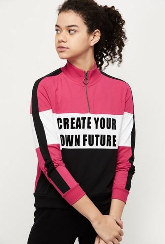 MAX Colourblocked Mock Collar Sports T-shirt