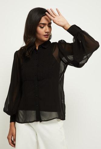 MAX Textured Spread Collar Shirt