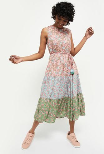 MAX Floral Print Sleeveless Midi Dress
