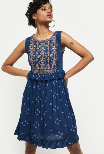 MAX Embroidered A-Line Fusion Dress