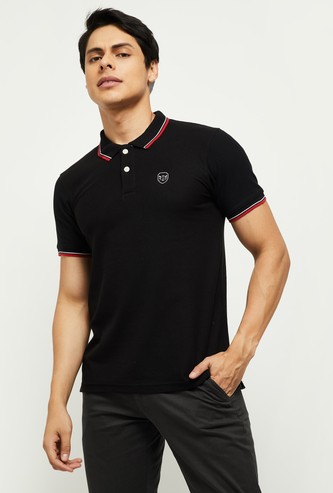 MAX Solid Slim Fit Tipping Polo T-shirt