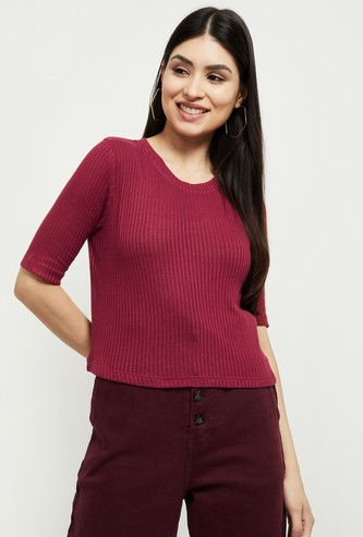 MAX Textured Short Sleeves Knitted Top