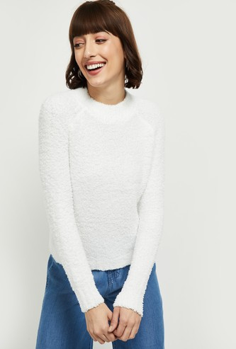 MAX Solid Fur Knit High Neck Sweater