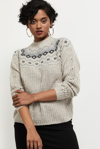 MAX Textured High Neck Sweater