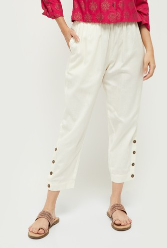 MAX Solid Woven Cropped Pants