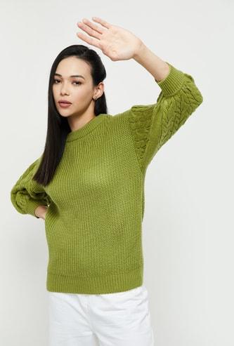 MAX Textured Three-quarter Sleeves Knit Sweater