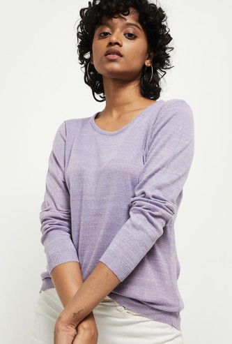 MAX Shimmery Round Neck Sweater