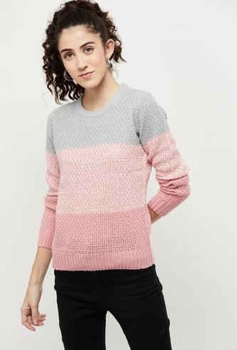 MAX Round Neck Textured Sweater