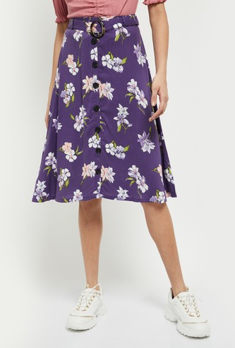 MAX Printed Button-Down Flared Skirt