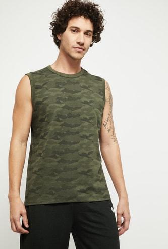 MAX Printed Crew Neck Sleeveless T-shirt