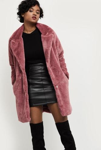 MAX Solid Long Faux Fur Jacket