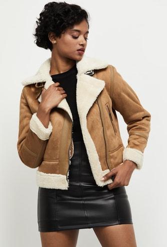 MAX Solid Faux Fur Jacket