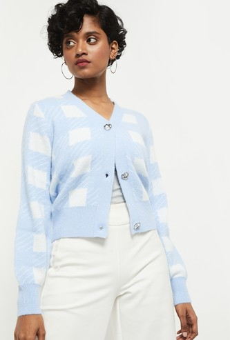 MAX Textured Buttoned Short Cardigan