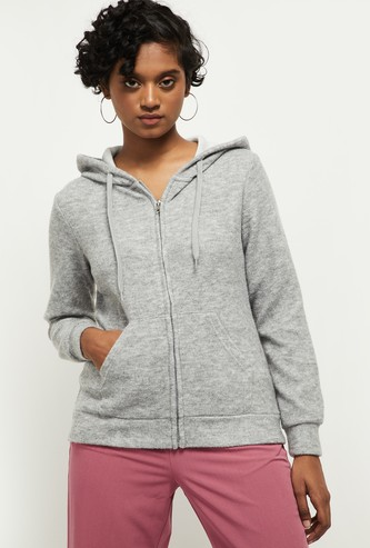 MAX Textured Hooded Full Sleeves Sweatshirt