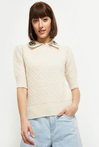 MAX Woven Collared Sweater