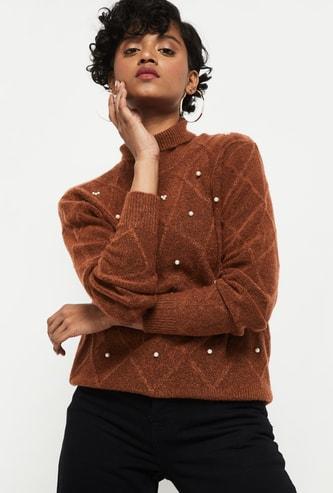 MAX Embellished Turtle Neck Sweater