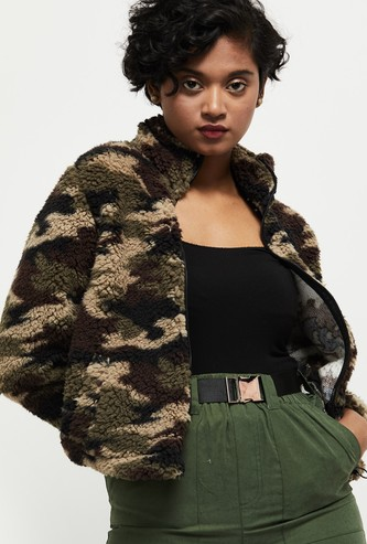 MAX Camouflage Printed Faux Fur Jacket