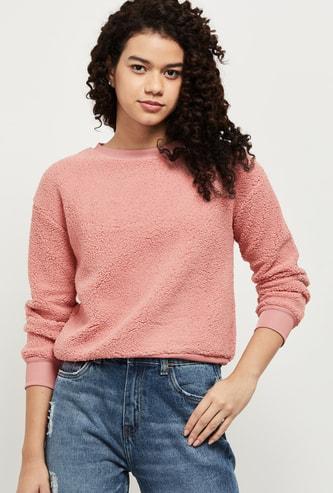 MAX Textured Round Neck Sweatshirt