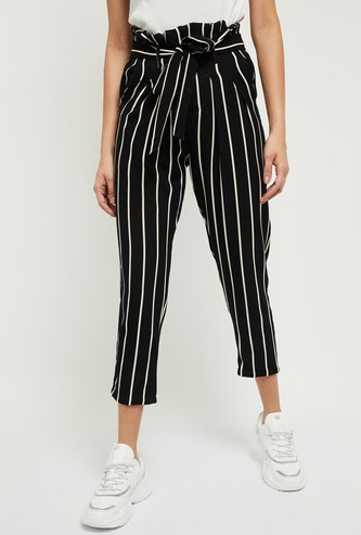 MAX Striped Cropped Trousers