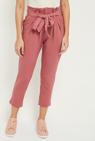 MAX Solid Tie-Up High Waist Trousers