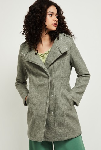 MAX Solid Collared Trench Coat