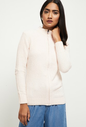 MAX Textured Full Sleeves Mock Collar Sweater