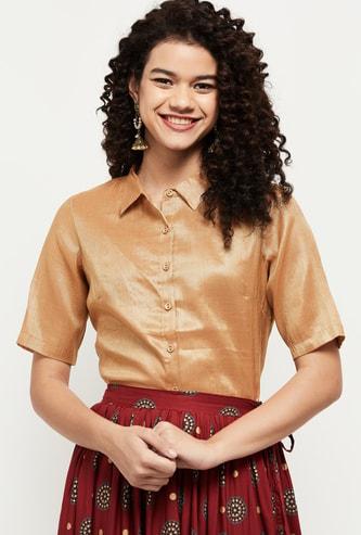 MAX Solid Spread Collar Fusion Shirt