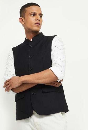 MAX Solid Textured Nehru Jacket