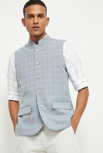 MAX Checked Button-Down Nehru Jacket