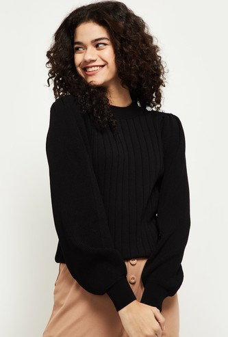 MAX Textured Puffed Sleeves Top