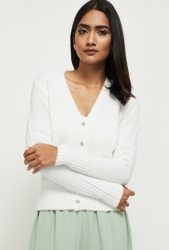 MAX Textured Faux Fur V-neck Sweater