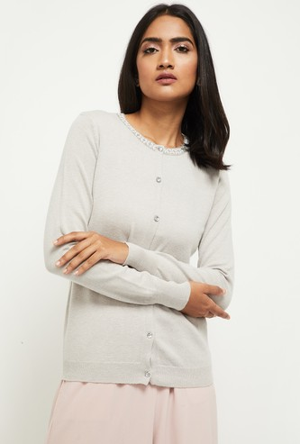 MAX Solid Embellished Front Open Cardigan