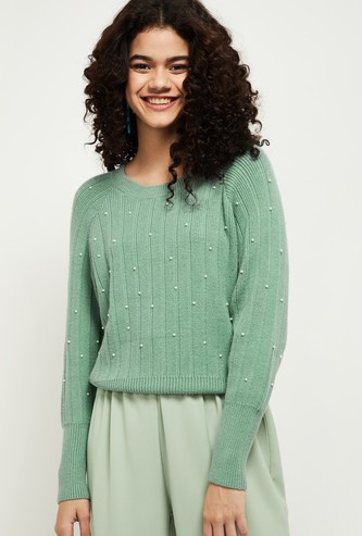 MAX Pearl Embellished Sweater