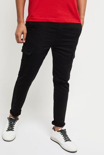 MAX Solid Carrot Fit Denim Cargo Pants
