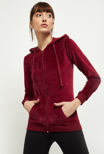 MAX Solid Velour Hooded Jacket