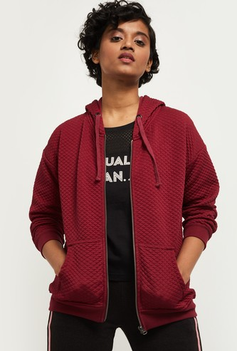 MAX Zip Closure Hooded Quilted Jacket
