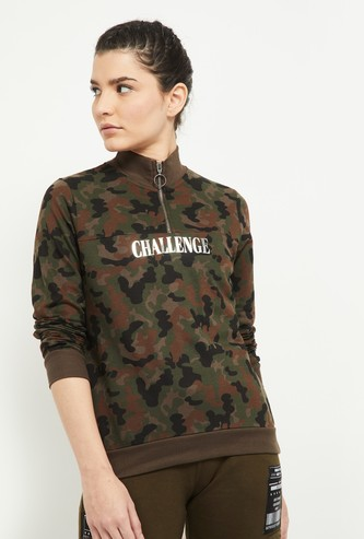 MAX Camouflage Printed Mock Collar Sweatshirt