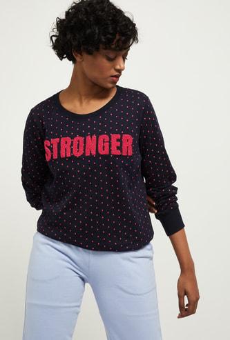MAX Polka Dot Printed Round Neck Sweatshirt