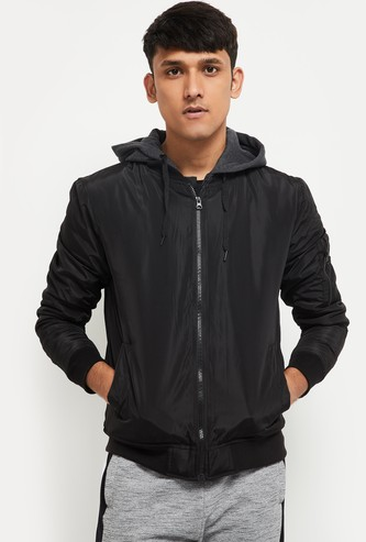MAX Solid Hooded Bomber Jacket